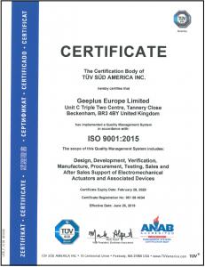Geeplus ISO-2015 Certificate
